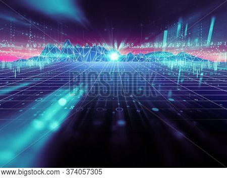 Digital Landscape With Digital Technology Elements ,concept Of Smart City And Digital Transformation