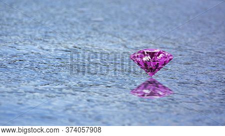 On The Sandy Ground There Are Beautiful Colored Gems. Placed, Looks Beautiful And Valuable