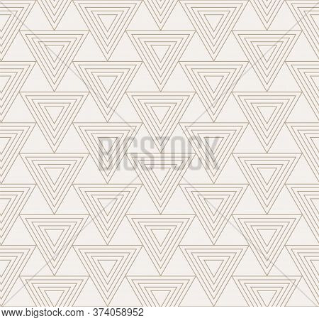Repeat Ornament Graphic Triangle, Decor Pattern. Seamless Linear Vector Geo Background Texture. Cont