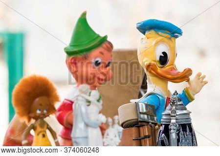 Croatia, Split - September 22th, 2018: A Donald Duck Puppet In An Antique Market Outdoors In Split,