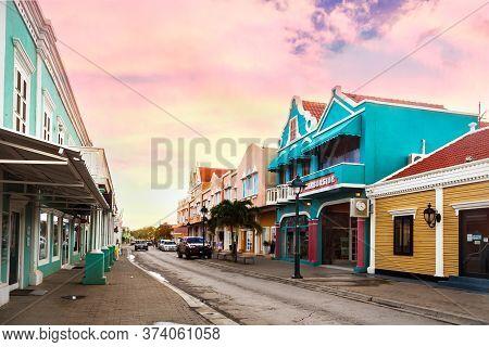 Kralendijk, Bonaire - January 27th, 2018: Main Commercial Street With Stores, Kralendijk.