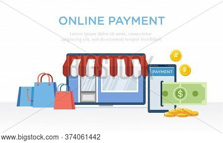 Vector Illustration Of Payment Activities Using Internet Payment Services. Shop With E-commerce Tech