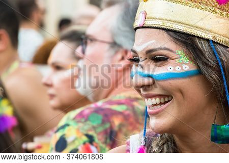 Recife, Brazil - February 9th, 2018: Portrait Of A Woman At Carnival. The Beginning Of The Celebrati