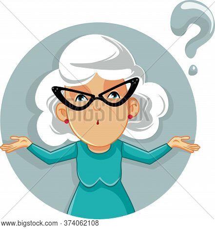 Funny Granny Shrugging Vector Cartoon Illustration Character