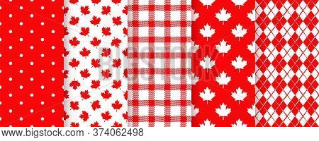 Canada Seamless Pattern. Vector. Happy Canada Day Textures With Maple Leaf, Polka Dots, Plaid And Rh
