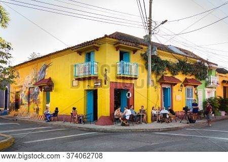 Cartagena, Colombia - January 23th, 2018: People Sitting At The Solar Bar, Colonial Style In The Cal