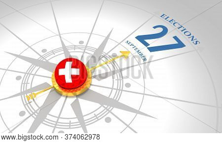 Voting Concept. Switzerland Elections. 3d Rendering. Abstract Compass Points To The Elections Date