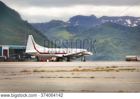 Dutch Harbor, Unalaska, Alaska, Usa - August 14th, 2017: A Convair 580 Of Honeywell Flight Test At T