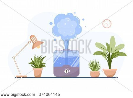 Humidifier With House Plants. Equipment For Home Or Office. Ultrasonic Air Purifier In The Interior.