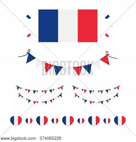 French Flags And Design Elements Set, Collection For French National Day And Other Public Holidays.