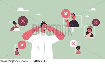 Man Closing Ears Suffering From Noise Keep Quiet Silent Concept Chat Bubble With Cross Sign Quiet Zo
