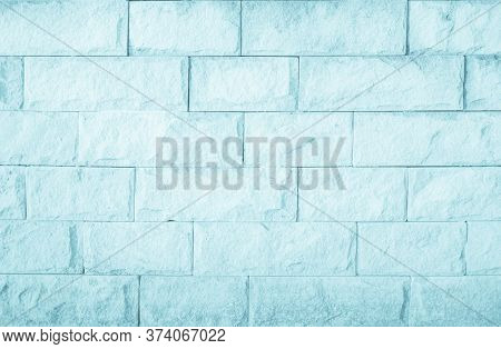 Empty Background Wide Blue Brick Wall Texture. Calm White Tile W