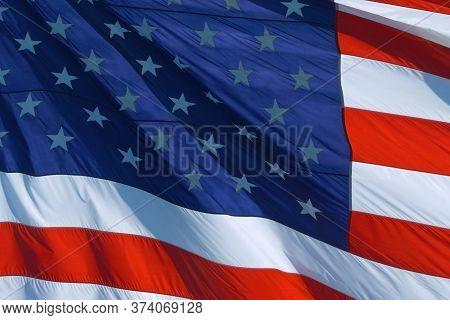American Flag Background, Closeup: American Flag Usa Close Up Waving Background Texture. American Fl