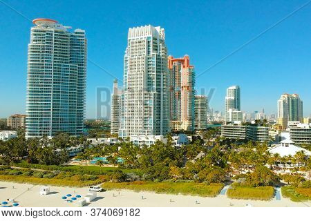 Aerial Drone View Flight Over Miami City. South Beach Sand And Ocean From Above At Sunny Day. Beach