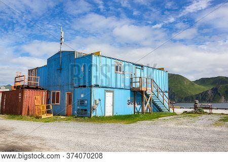 Dutch Harbor, Unalaska, Alaska, Usa - August 14th, 2017: A Ship Container House At Airport Beach Roa