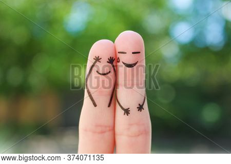 Fingers Art Of Couple. Concept Of People Laughing.