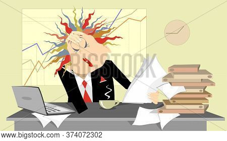 Tired Business Woman In The Office Illustration.tired And Pensive Business Woman Sits Near The Table