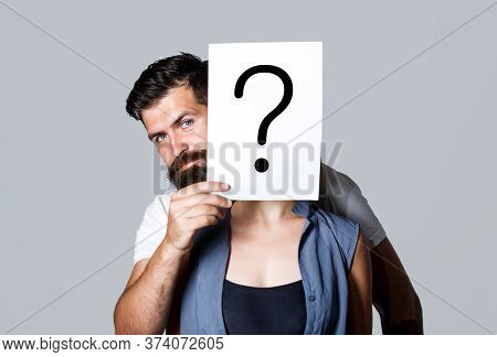 Anonymous Girl, Peeking Behind Of Interrogation Symbol. Woman Incognita. Man A Question, Anonymous,