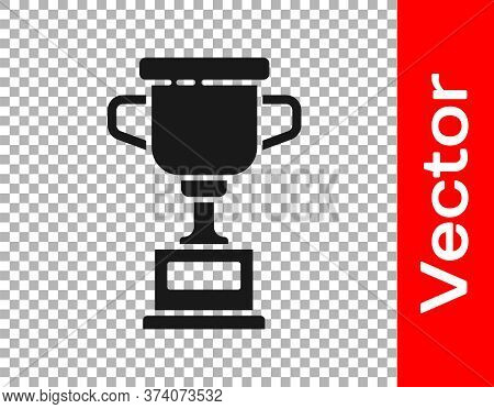 Black Award Cup Icon Isolated On Transparent Background. Winner Trophy Symbol. Championship Or Compe