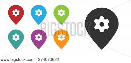 Black Location With Car Service Icon Isolated On White Background. Auto Mechanic Service. Repair Ser