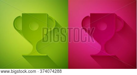 Paper Cut Award Cup Icon Isolated On Green And Pink Background. Winner Trophy Symbol. Championship O