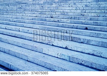 Empty Marble Stone Vintage Stairway In Light Blue Color