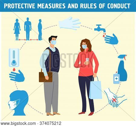 People In Protective Masks. Personal Infection Safety. Individual Virus Protective Measures, Sanitiz