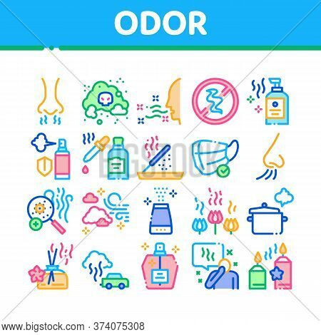 Odor Aroma And Smell Collection Icons Set Vector. Nose Breathing Aromatic Odor And Clean Air, Perfum