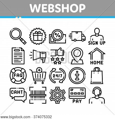 Webshop Internet Store Collection Icons Set Vector. Webshop Online Shop Coupon And Buy, Chat And Faq