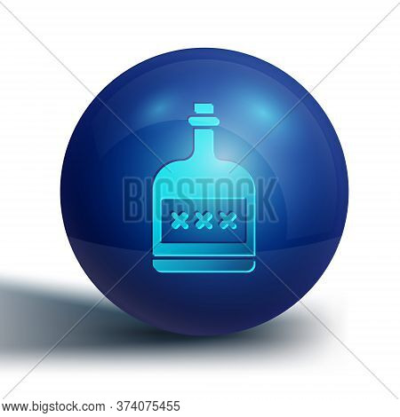 Blue Alcohol Drink Rum Bottle Icon Isolated On White Background. Blue Circle Button. Vector Illustra
