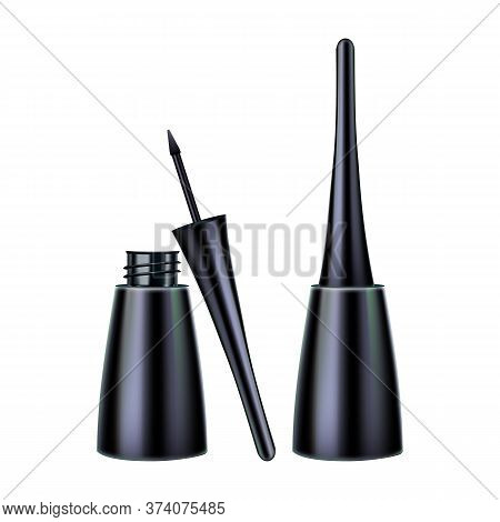 Eyeliner Brush And Package Makeup Tool Set Vector. Collection Of Open And Close Cap Eyeliner Pack, E