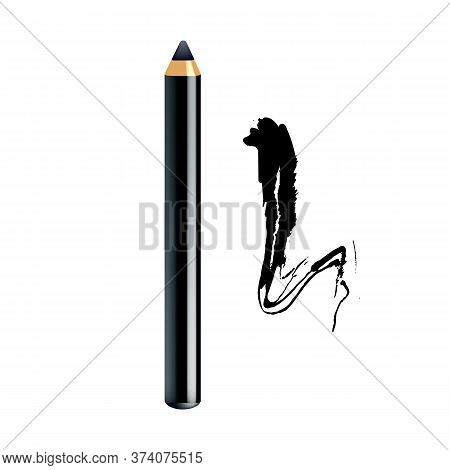 Eyeliner Pencil And Paint Stroke Makeup Set Vector. Eyeliner Eyeshdow Marker For Painting Eye Lines,