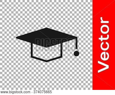 Black Graduation Cap Icon Isolated On Transparent Background. Graduation Hat With Tassel Icon. Vecto