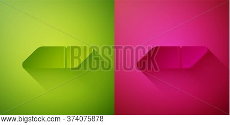 Paper Cut Eraser Or Rubber Icon Isolated On Green And Pink Background. Paper Art Style. Vector Illus