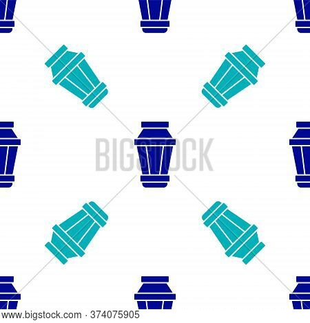 Blue Garden Light Lamp Icon Isolated Seamless Pattern On White Background. Solar Powered Lamp. Lante