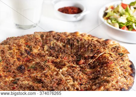 Turkish Foods , Turkish Pizza, Lahmacun With Red Pepper