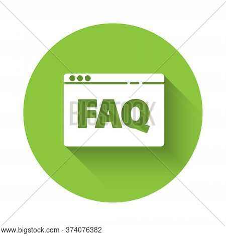 White Browser Faq Icon Isolated With Long Shadow. Internet Communication Protocol. Green Circle Butt