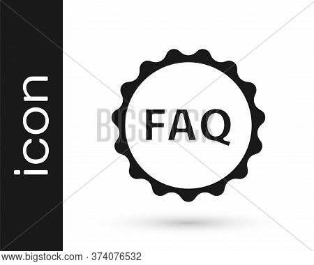 Grey Label With Text Faq Information Icon Isolated On White Background. Circle Button With Text Faq.