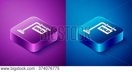 Isometric Hanging Sign With Text Sold Icon Isolated On Blue And Purple Background. Sold Sticker. Sol
