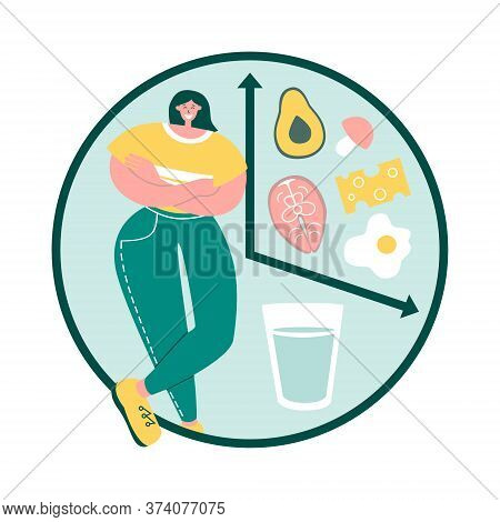 Intermittent Fasting. Happy Woman Follows Interval Fasting Protocol. Clock With Glass Of Water And H