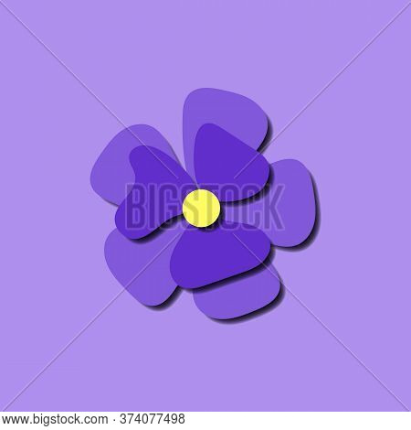 Paper Cut Cute Pansy Flower In Paper Art Style On Violet Background. Origami Style Stock Vector Illu