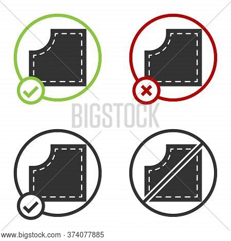 Black Sewing Pattern Icon Isolated On White Background. Markings For Sewing. Circle Button. Vector I