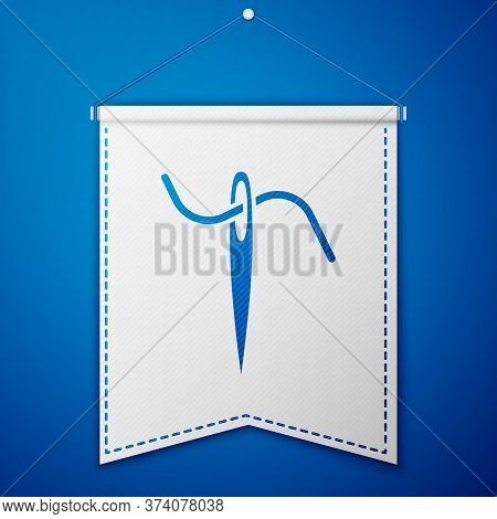 Blue Needle For Sewing With Thread Icon Isolated On Blue Background. Tailor Symbol. Textile Sew Up C