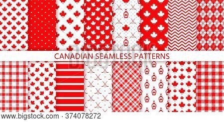 Canada Seamless Pattern. Vector. Happy Canada Day Prints. Backgrounds With Maple Leaf, Hockey Sticks