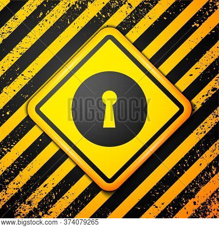 Black Keyhole Icon Isolated On Yellow Background. Key Of Success Solution. Keyhole Express The Conce
