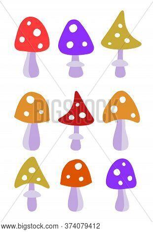 Scorpion Illustration Hand Drawn Multicolored Funny Amanita Mushrooms. Horizontal Background With Mu