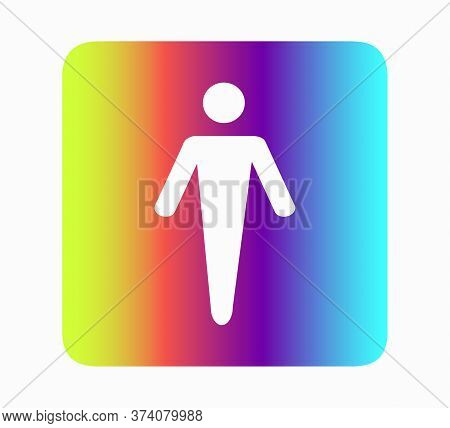 Male Toilet Icon Neon Rainbow Flat Design Vector Illustration. Restroom Icon, Toilet Sign. Vector Gr