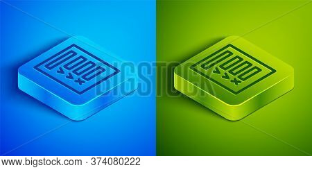 Isometric Line Car Inspection Icon Isolated On Blue And Green Background. Car Service. Square Button