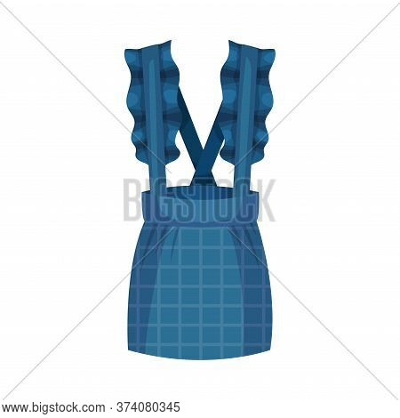 Blue Pinafore Dress With Checkered Skirt Vector Illustration