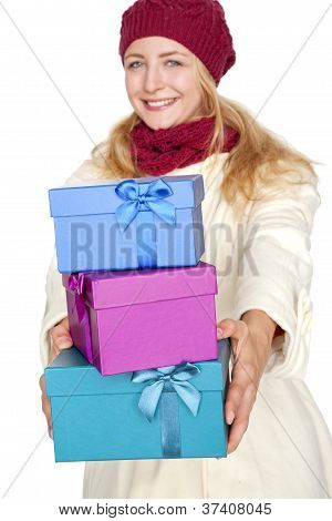 blond woman get a gift